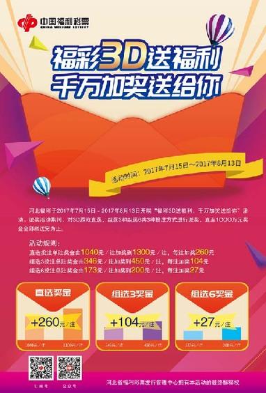 福彩3d送福利千万加奖送给你活动海报