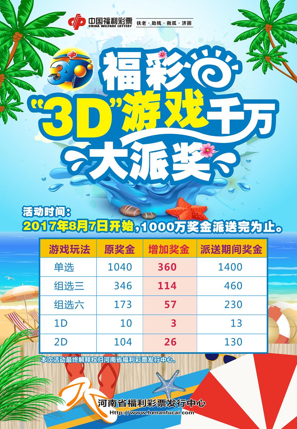 福彩3d游戏千万大派奖海报