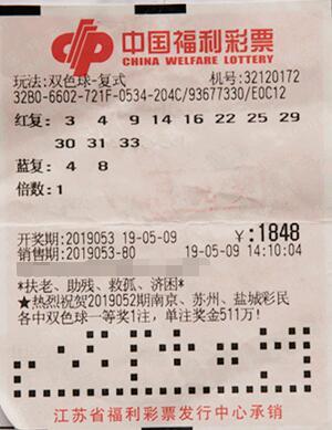 江苏彩民凭借双色球大复式票获一等奖623万多元