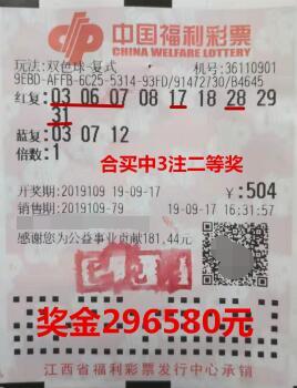 江西赣州彩民合买中双色球二等奖29万多元