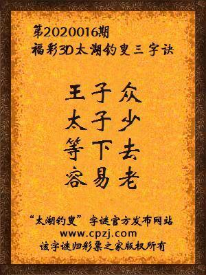 3d第2020016期太湖釣叟字謎:王子眾,太子少,等下去,容易老