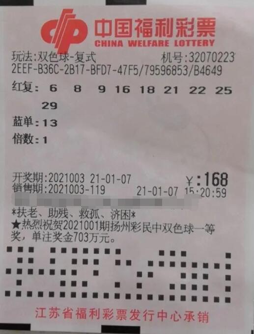 江苏四人合买双色球喜中二等奖20.7万