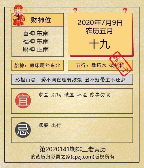 排列三第2020141期老黄历图谜:房床厕外东北
