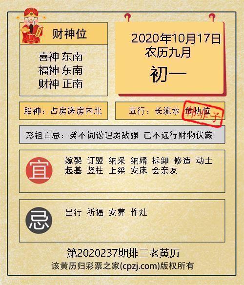 排列三第2020237期老黄历图谜:占房床房内北